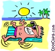 Vector Clip Art picture  of a Sun tanning - cartoon
