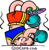 punched out boxer - cartoon Vector Clipart graphic