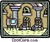 the king's men watch television Vector Clipart illustration