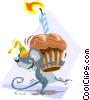 Vector Clip Art graphic  of a Birthday mouse