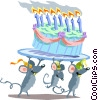 Birthday mice Vector Clipart image