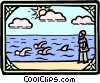 Vector Clipart image  of a king's men swim with shark