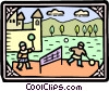 Vector Clipart illustration  of a King's men play badminton