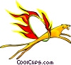Vector Clip Art graphic  of a lion through hoop of fire