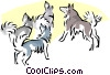 Vector Clip Art image  of a dogs howling at moon