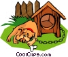 Vector Clipart picture  of a chained boxer dog with bone