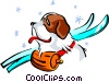 Vector Clip Art graphic  of a St. Bernard ski patrol