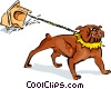 Vector Clip Art image  of a bull dog pulling his house