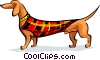 sausage dog in coat Vector Clip Art graphic