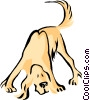 Vector Clipart graphic  of a hound sniffing around