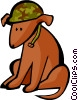 Vector Clipart picture  of a dog in army helmet