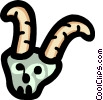 cartoon goat head/antlers Vector Clip Art picture