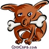 dog with bone Vector Clip Art image