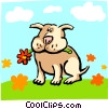 Vector Clip Art picture  of a dog chewing on flower/summer