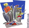 Vector Clip Art graphic  of a city traffic