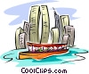 Vector Clip Art graphic  of a city boat cruise