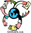 mail around the world 1 Vector Clipart picture