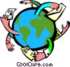Vector Clipart graphic  of a mail around the world 2