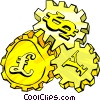 Vector Clip Art graphic  of a international money gears