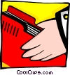 Vector Clipart graphic  of a hand held folder