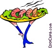 Vector Clip Art graphic  of a platter carried by waiter -
