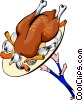 Vector Clip Art image  of a roast turkey carried by waiter