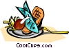 Vector Clipart graphic  of a fish and chips