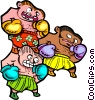 three boxers - cartoon Vector Clip Art graphic