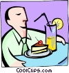 Vector Clipart picture  of a enjoying drink and cake