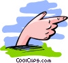 Vector Clip Art image  of a hand pointing - abstract