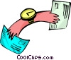 Vector Clipart picture  of a hands of time with mail -