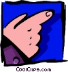 Vector Clip Art graphic  of a hand pointing two - abstract