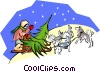 Vector Clipart graphic  of a Sled dogs pulling tree