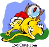 Christmas cat ate turkey Vector Clip Art picture