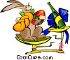 Vector Clip Art graphic  of a Easter rabbit on scales