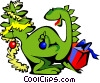 Vector Clip Art graphic  of a Christmas dinosaur