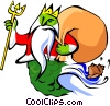 Gift bearing King Neptune Vector Clipart picture