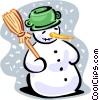 Snowman with broom Vector Clip Art image