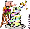 boy blowing out birthday candles on cake Vector Clip Art image