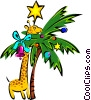 travel/giraffe in a tree Vector Clip Art image