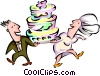 couple carrying a birthday cake Vector Clip Art graphic
