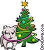 dog and Christmas tree Vector Clipart picture