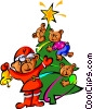 Vector Clipart graphic  of a teddy bears and Christmas tree