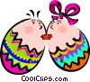 Easter eggs kissing Vector Clip Art graphic