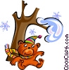 Vector Clip Art picture  of a teddy bear under tree