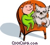 Vector Clipart graphic  of a child with pet dog on chair