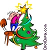 placing the star on Christmas tree Vector Clipart illustration