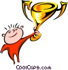 Vector Clipart graphic  of a person holding a trophy cup