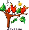 Vector Clip Art graphic  of a singing birds