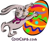Vector Clipart picture  of a Easter bunny with egg